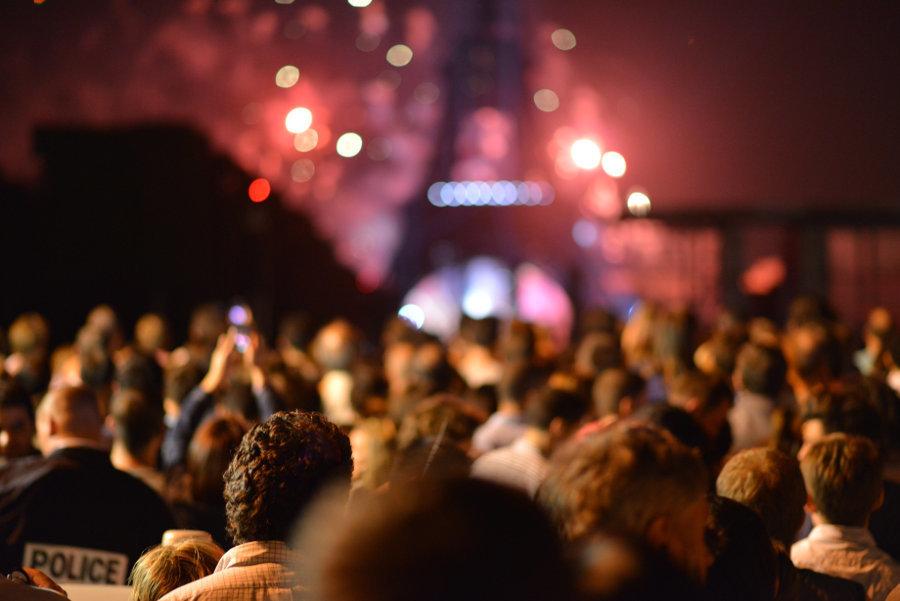 People in Vigil at Eiffel Tower